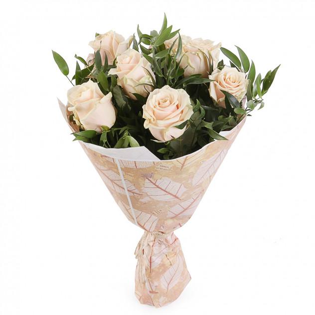 Букет из кремовых роз № 4